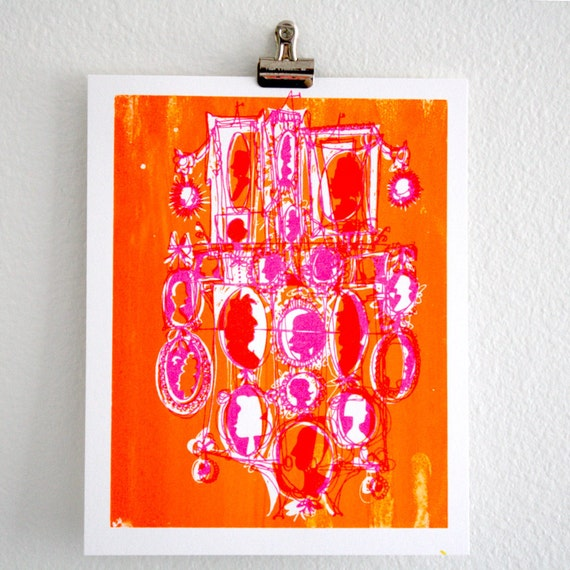 Cameo - fluorescent silhouettes screen print: hot pink & neon orange on recycled paper, 8x10