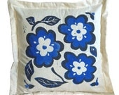 Hand Printed Blue Flower Pillow Sham
