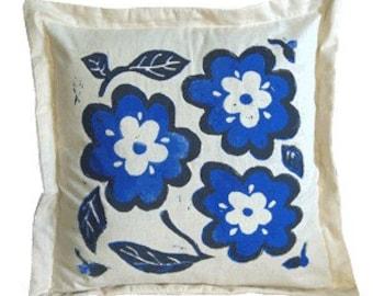 Hand Printed Blue Flower Pillow Sham, Linocut, Home Decor, Bamboo Art, Blue Flowers, Garden Decor, Block printed