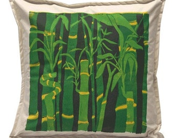 Handprinted Bamboo Pillow Sham, Linocut, Home Decor, Bamboo Art, Green Bamboo, Garden Decor, Block printed