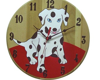 Dalmation Clock, Dog Clock, Kids Room, Home Decor, Hand Painted, Child's room