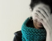 teal we meet again . hand knit cowl neck scarf. winter accessories . yegan yarn