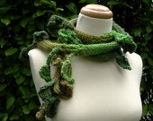Falling Leaves . scarf . lariat in many shades of green