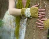 Pixie Forest . organic fingerless gloves . mori girl style handknit gauntlets