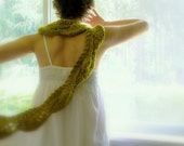 Don't Leave Me This Way . handknit scarf . leaf green moss olive charteuse . mori girl forest fairy woodland sprite