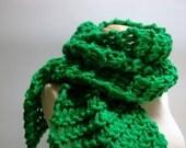 Emerald City . chunky knit scarf .  St. Patrick's Day Irish shamrock kelly green . vegan winter accessories fall fashion