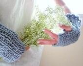 faded sky.  fingerless gloves . denim blue organic cotton eco friendly knitted fall fashion winter accessories summer beach weddings