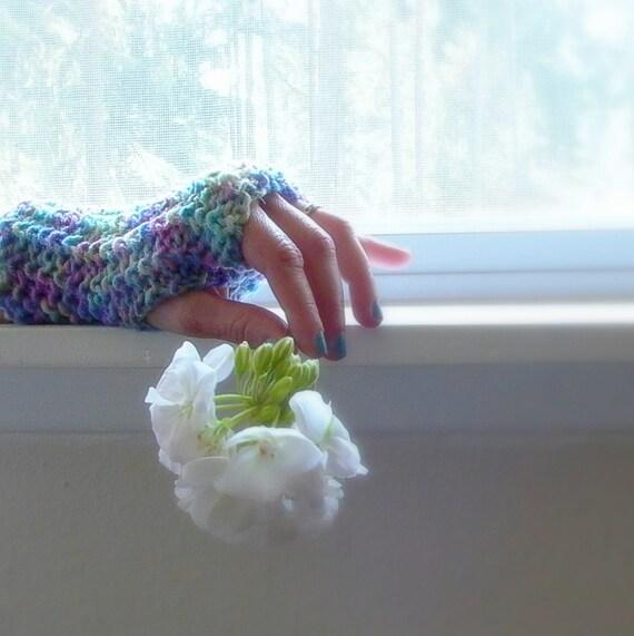 hydrangea . knit fingerless gloves . periwinkle blue, lilac purple, sage green hand warmers . vegan winter accessories