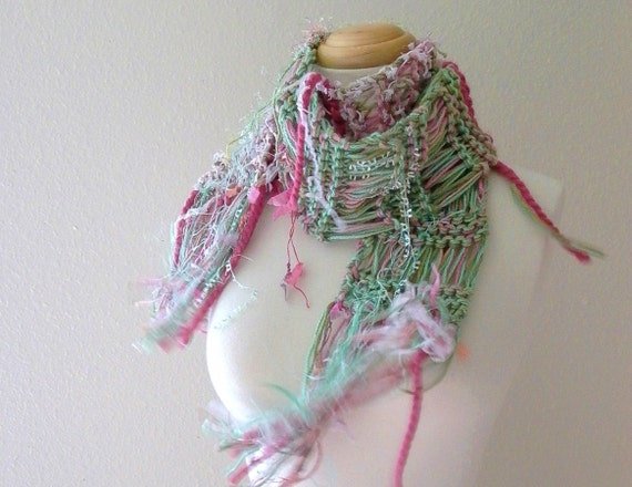gypsy rose. shabby cottage chic knitted scarf . bohemian fall fashion knitwear . boho autumn accessories . sage mint green dusty rose pink