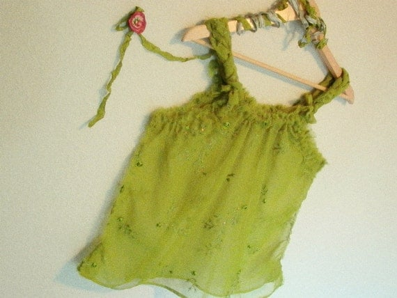 whispering forest nymph babydoll camisole top s/m . eco friendly fashion blouse tattered boho gypsy mori girl upcycled clothing olive green