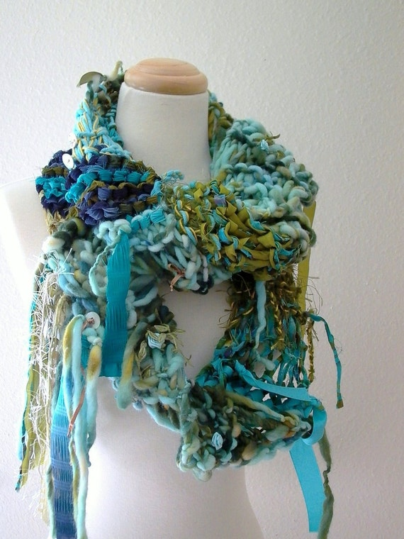 RESERVED sea nymph hand knit scarf . wearable fiber art of underwater treasures . turquoise aqua navy blue olive gold winter accessories