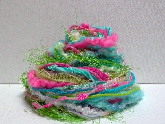 Luau Fringe Effects . 20yds of specialty fibers art yarn bundle . aqua blue, hot pink, grass green