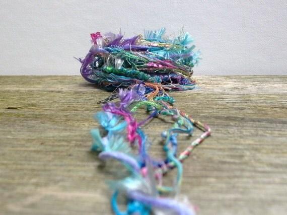 monet fiber effects . 12yds specialty art yarn bundle . blue, pink, purple