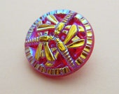 Dragonfly Button Red AB 18mm Diameter