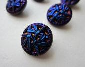 Button Dragonfly Dark Purple Blue AB 18mm Diameter