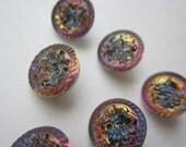 Set of 6 Czech Buttons 14mm Glass Fuschia Blue Gold