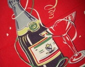 Vintage Mid Century Towel Champagne Streamers New Years Eve
