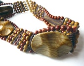 Landscape Jasper and Red Jasper knotted Choker - One of a Kind - Free Shipping