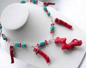 Red Coral and Turquoise Sterling Statement Necklace - One of a Kind - Fine Jewelry - Tagt - Free Shipping