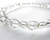 Swarovski Crystal Sterling Silver Wedding Bangle Bracelet