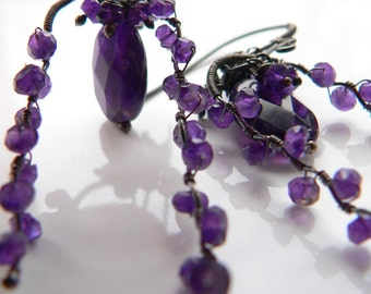 Amethyst Oxidized Sterling Earrings - One of a Kind - Free Shipping