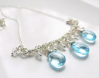 Blue Topaz  Necklace - Something Blue - Tagt - Free Shipping