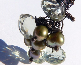 Green Amethyst and Pearl Earrings  - Oxidized Sterling  - Free Shipping