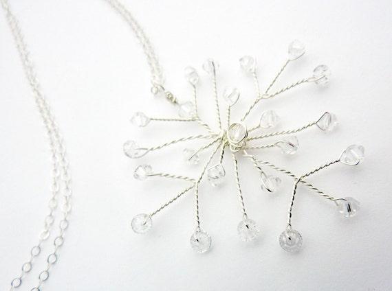 Swarovski Crystal Snowflake Sterling Holiday Necklace