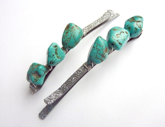 Turquoise Sparkle Hair Pin