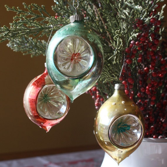 3 Large Vintage Indent Glass Christmas Ornaments West Germany