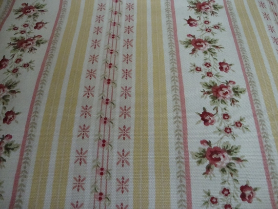 Cotton Upholstery Fabric, Shabby Chic Stripe and Roses Fabric,  0.875 Left