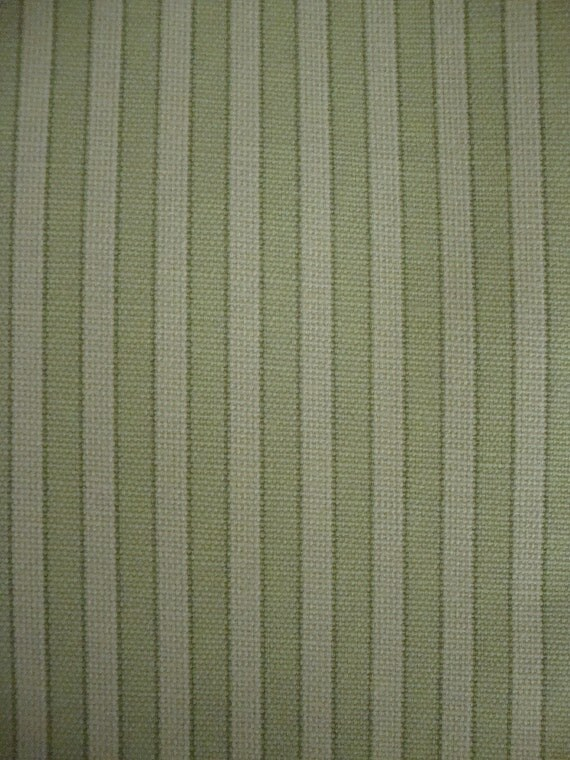 Cotton Upholstery Fabric, Mint Green and White,  Stripe Design, 1 Yard, Premier Prints