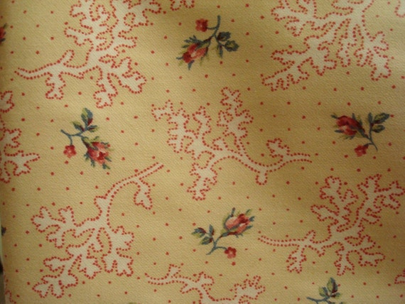Cotton Upholstery Fabric, Shabby Chic Petite Rose Flowers, Yellow and  Red Cotton Fabric