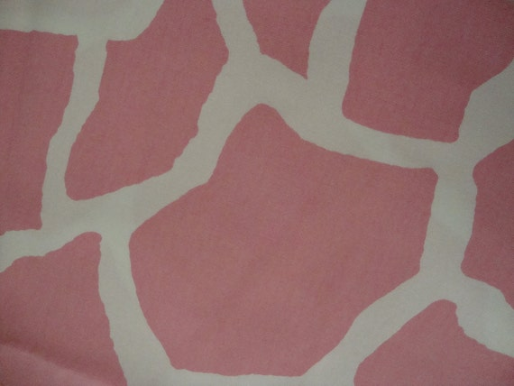 Cotton Upholstery Fabric,Pink and White, Cow, Giraffe Design, .50 Yard