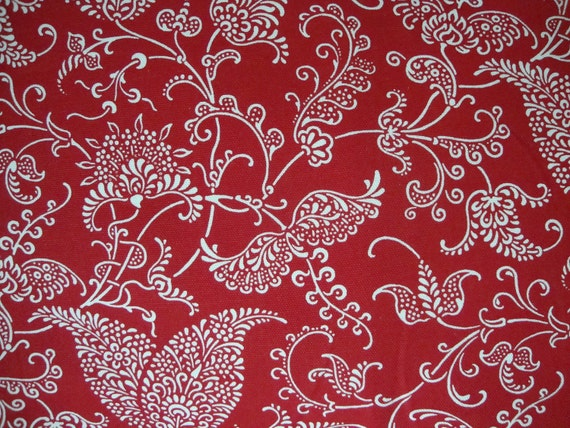 Cotton Upholstery Fabric, Red and White, Scrolls, Paisley Design, 1/2 Yard