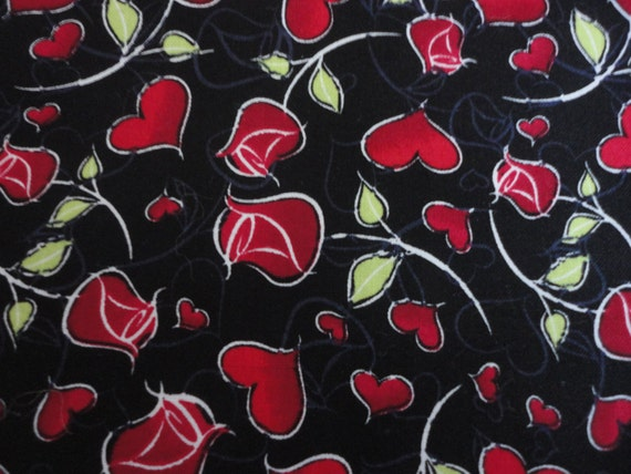 Cotton Fabric, Red Roses and Red Hearts Design, 1 Yard