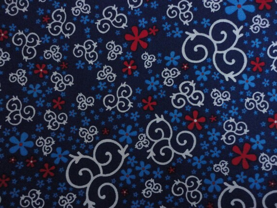 Cotton Fabric, Red, White and Blue Flower, 1 Yard