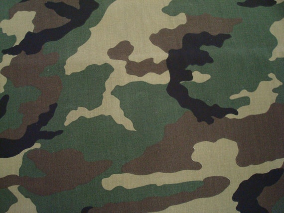 reserved for Danielle, Cotton Fabric, Green and Brown Camouflage Design By Cranston Print Works