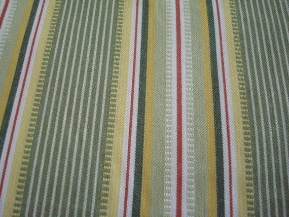 Cotton Upholstery Fabric, Green and Yellow Stripe, 1 Yard