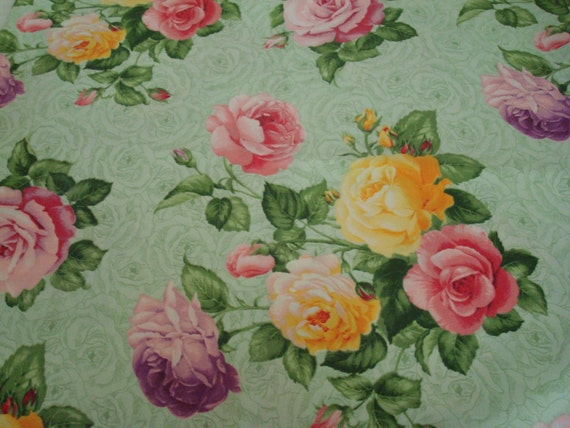 Cotton Fabric, Roses, Shabby Chic