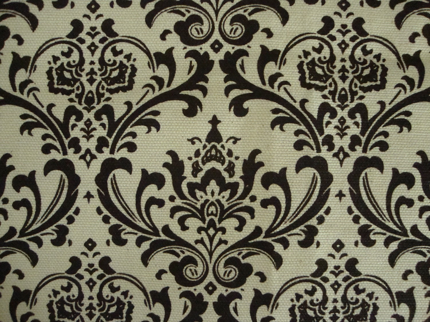 Upholstery Fabric Black And White Baroque Design Cotton