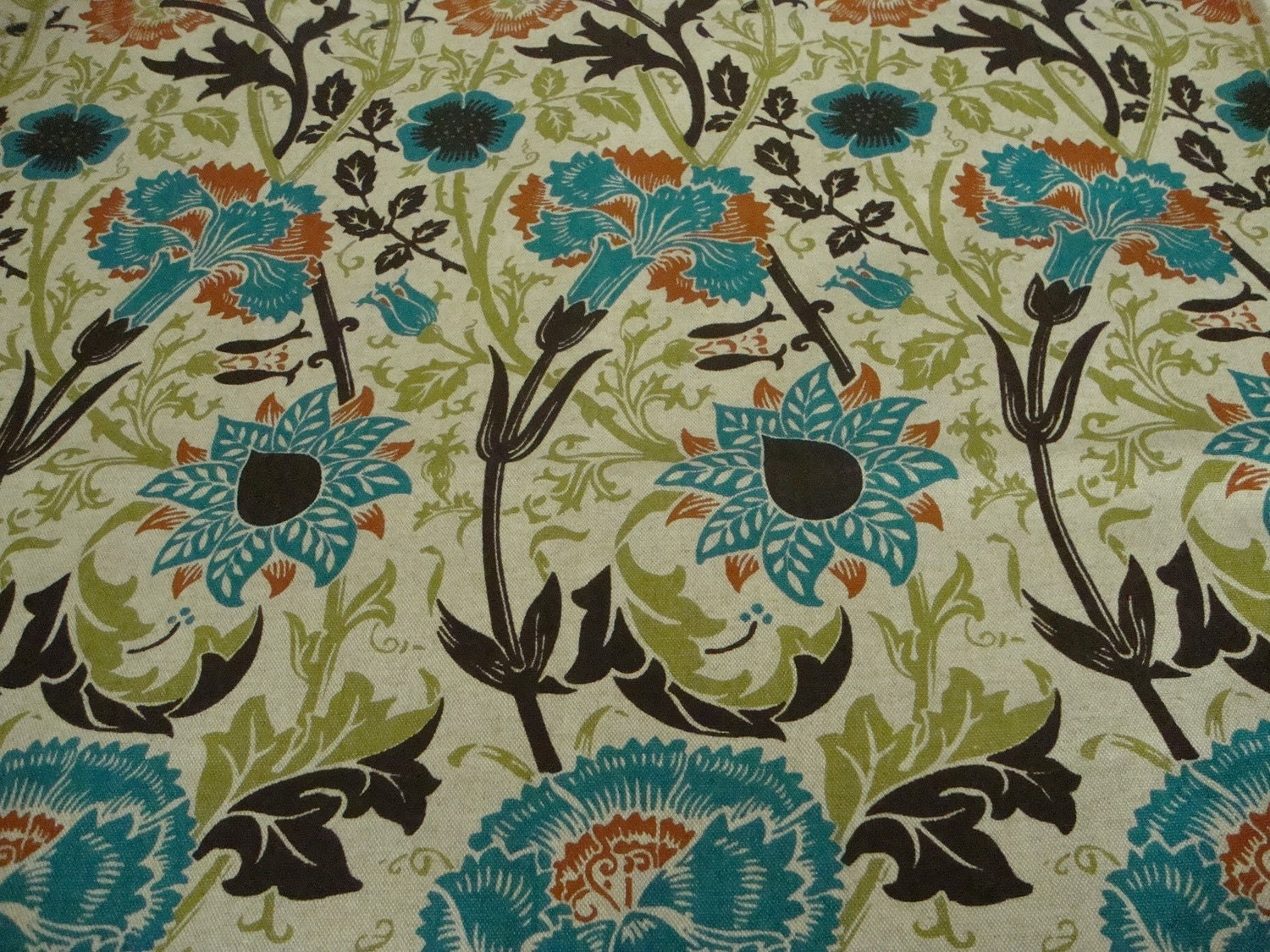 Cotton Upholstery Fabric Turquoise Rust Brown By