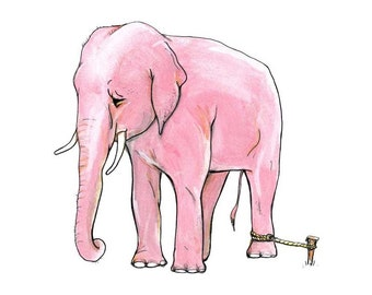 Anything is Possible  - Elephant tied to a Rope -  Art Print