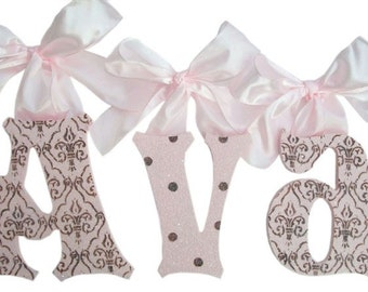 GLITTER and SPARKLE Hand painted baby nursery wall letters (custom design and colors available)