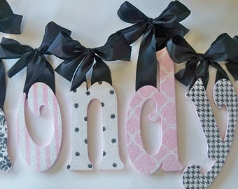 GLITTER and SPARKLE custom hand painted wall letters