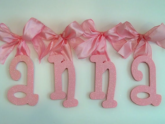 Glitter and sparkle custom hand painted wooden wall letters for Sparkly wooden letters