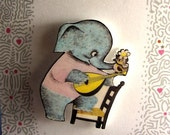 Elephant Plays Guitar with Bird Pin