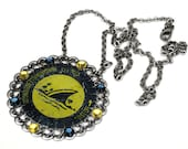 Beer Bottle Cap Necklace with Swarovski Crystals blue and yellow repurposed recycled upcycled bottlecap shark  fin cocktail chic