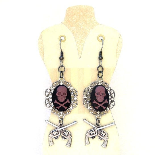 Skull and Crossbones pirate earrings with guns antique silver, purple, and black