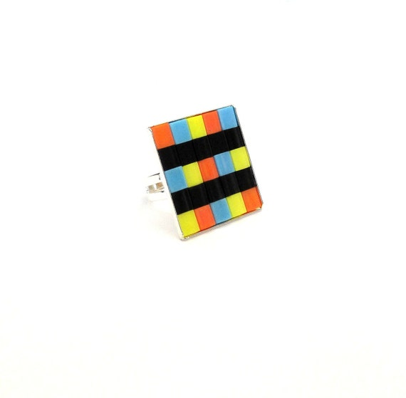 Square Geometric Statement Ring in Orange, Turquoise, Yellow, and Black